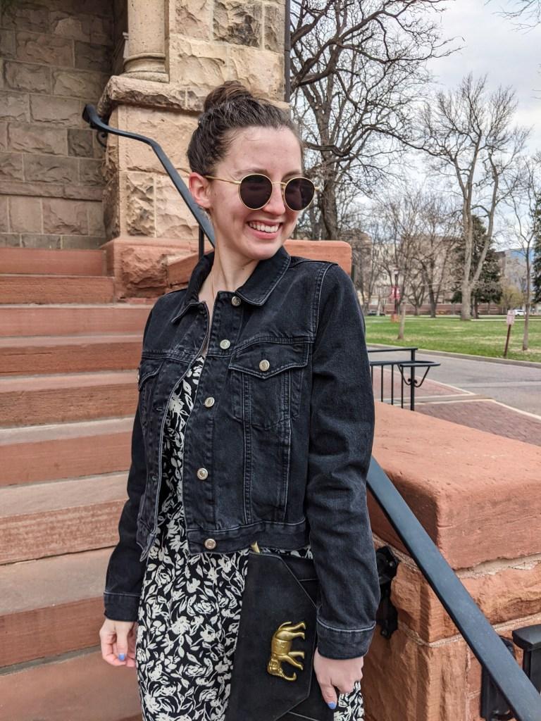 black-denim-jacket-floral-jumpsuit-black-elephant-purse