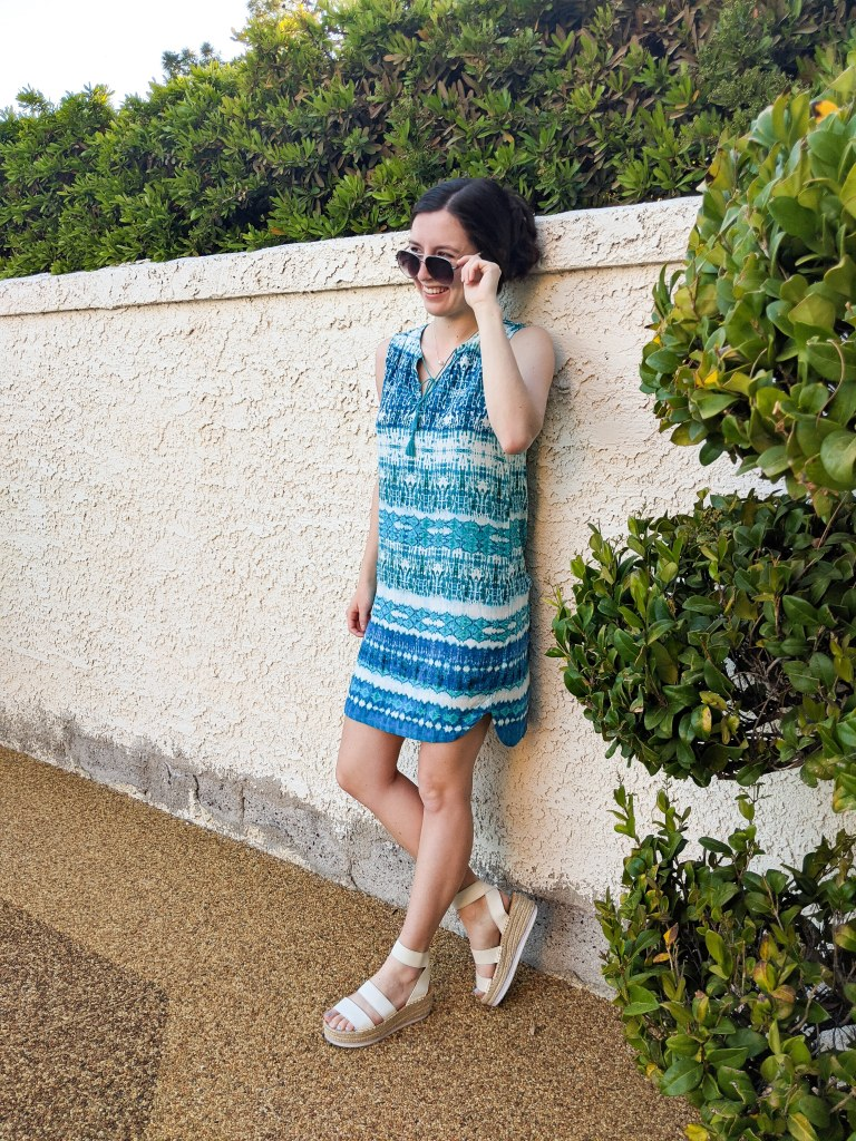 white-dolce-vita-espadrilles-platforms-blue-turquoise-dress-pool-outfit