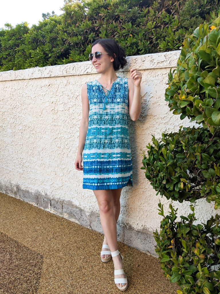 blue-patterned-dress-turquoise-beach-resort-wear