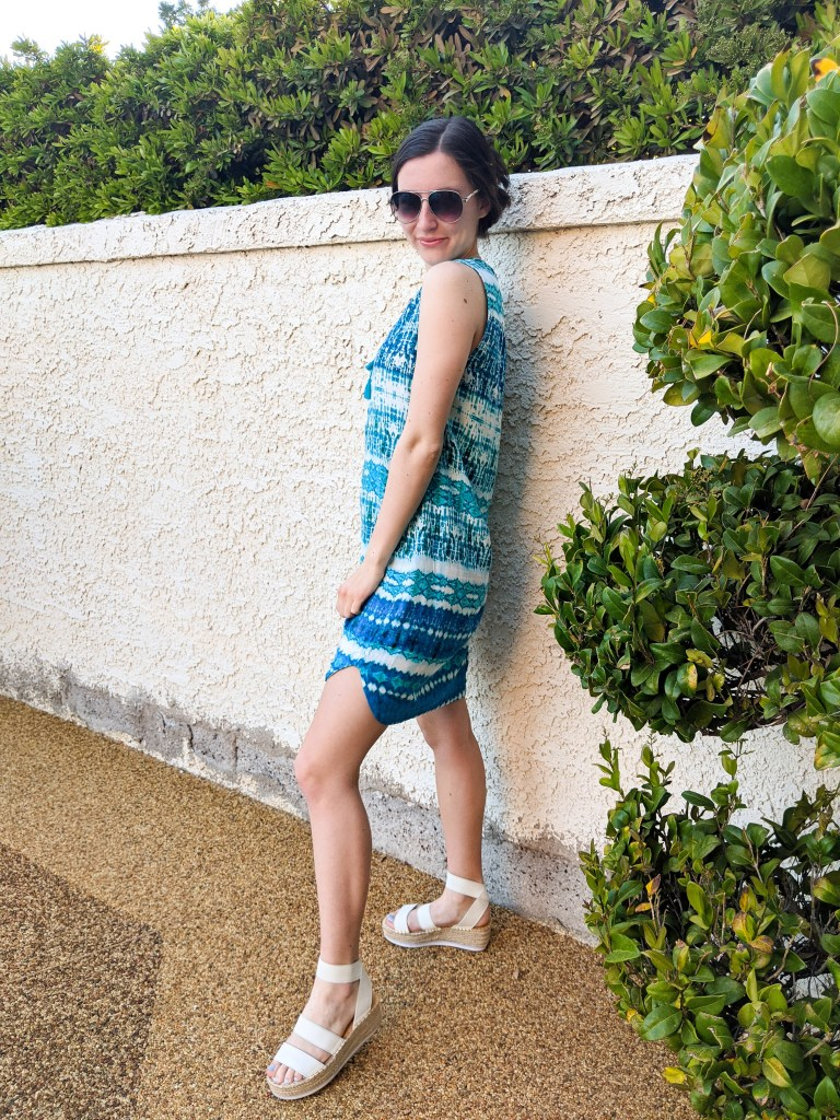 white-espadrille-sandals-blue-dress-aviator-sunglasses-claw-clip