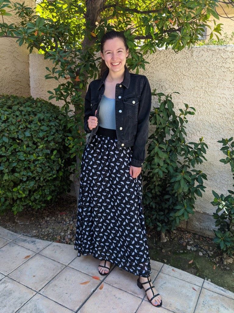 umbrella-print-maxi-skirt-blue-bodysuit-black-jean-jacket