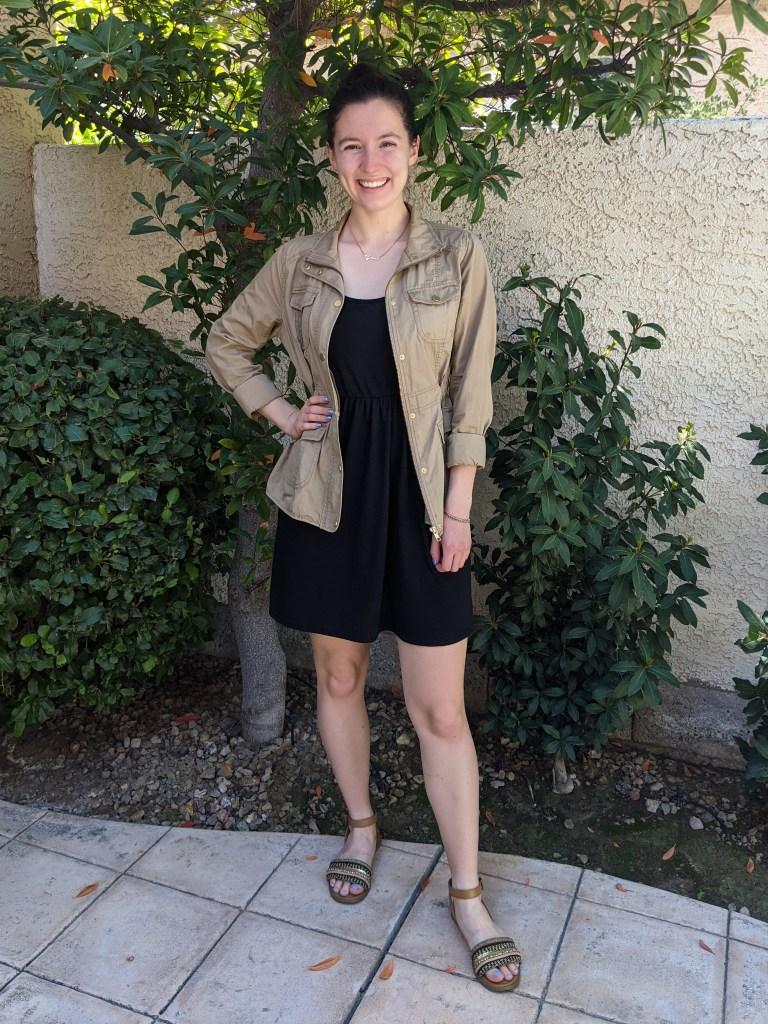 casual-black-dress-tan-anorak-jacket-brown-sandals-neutrals