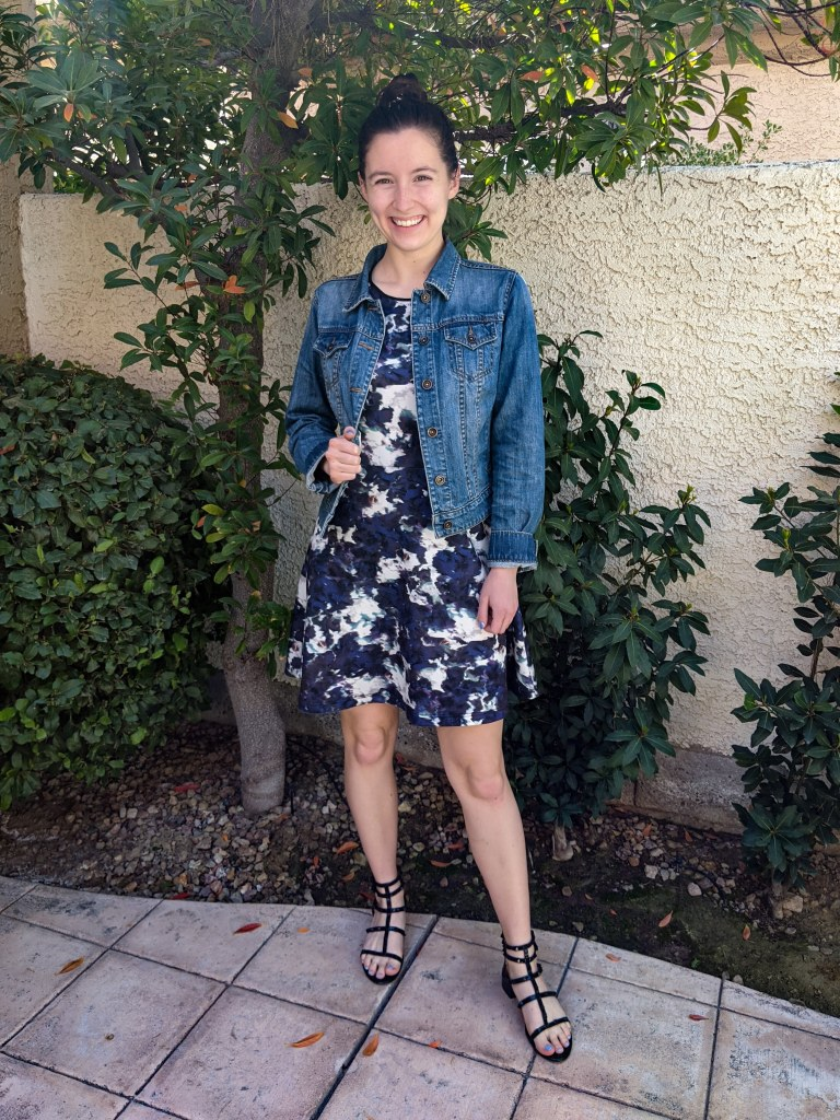purple-abstract-printed-dress-target-style-jean-jacket-black-studded-sandals