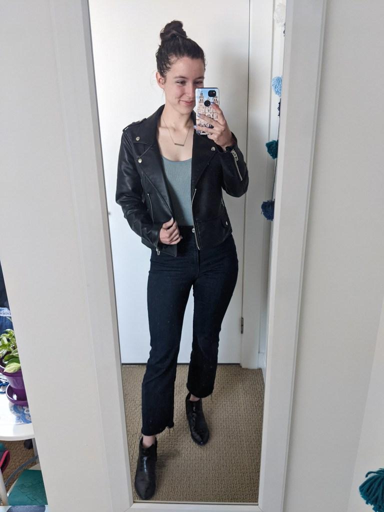 blue-bodysuit-black-leather-jacket-cropped-flared-jeans
