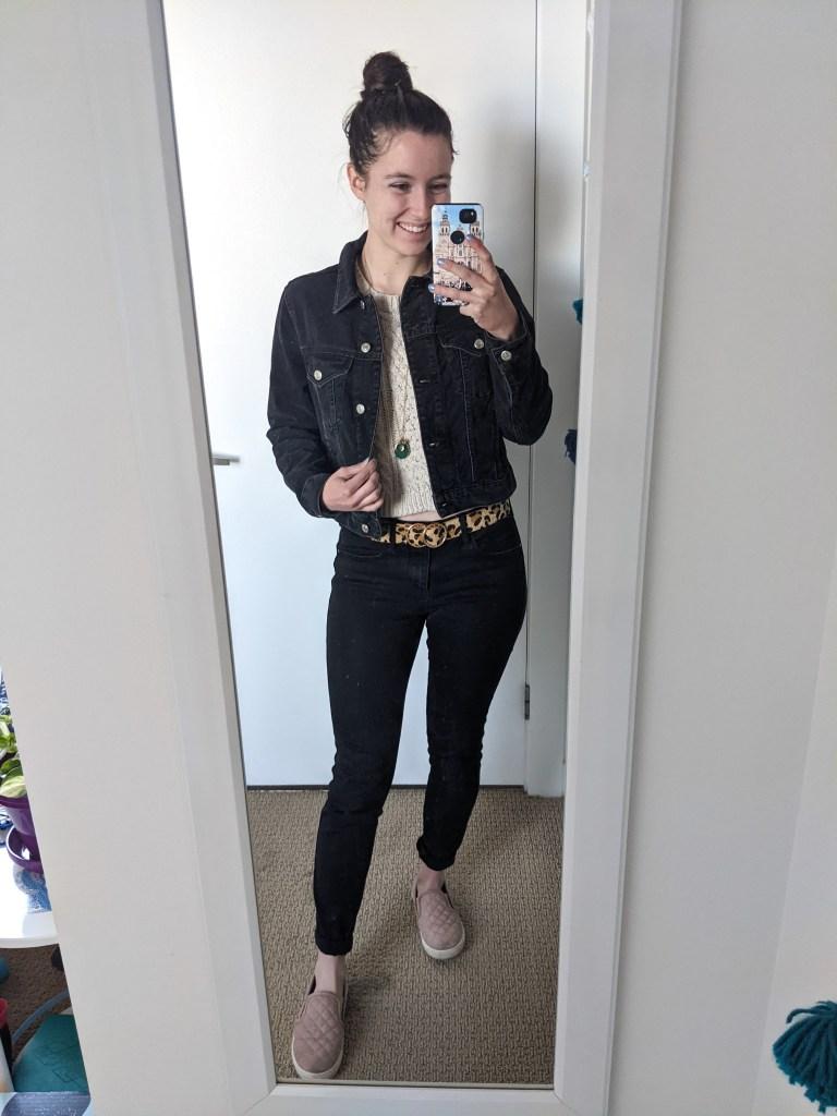 black-denim-jacket-leopard-belt-black-jeans