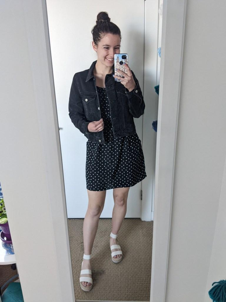 polka-dot-dress-black-denim-jacket-white-sandals