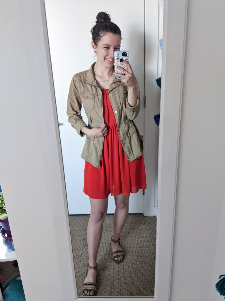 red-dress-tan-anorak-brown-sandals-spring-outfit