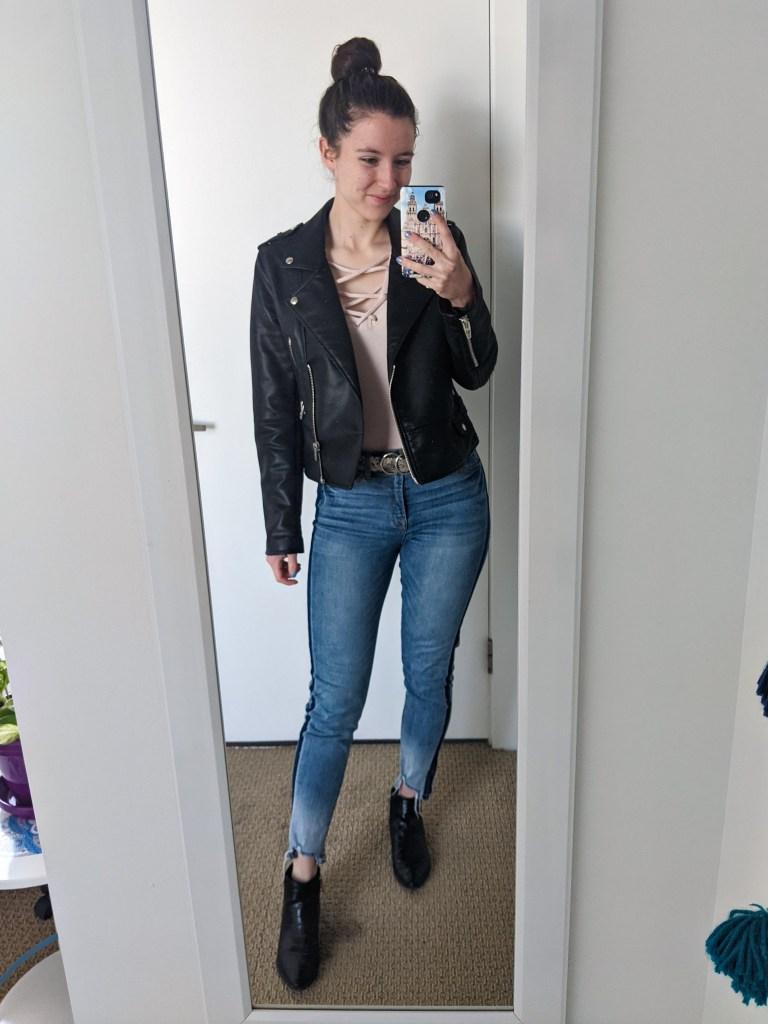 pink-laceup-tee-black-leather-jacket-tuxedo-stripe-jeans-black-booties