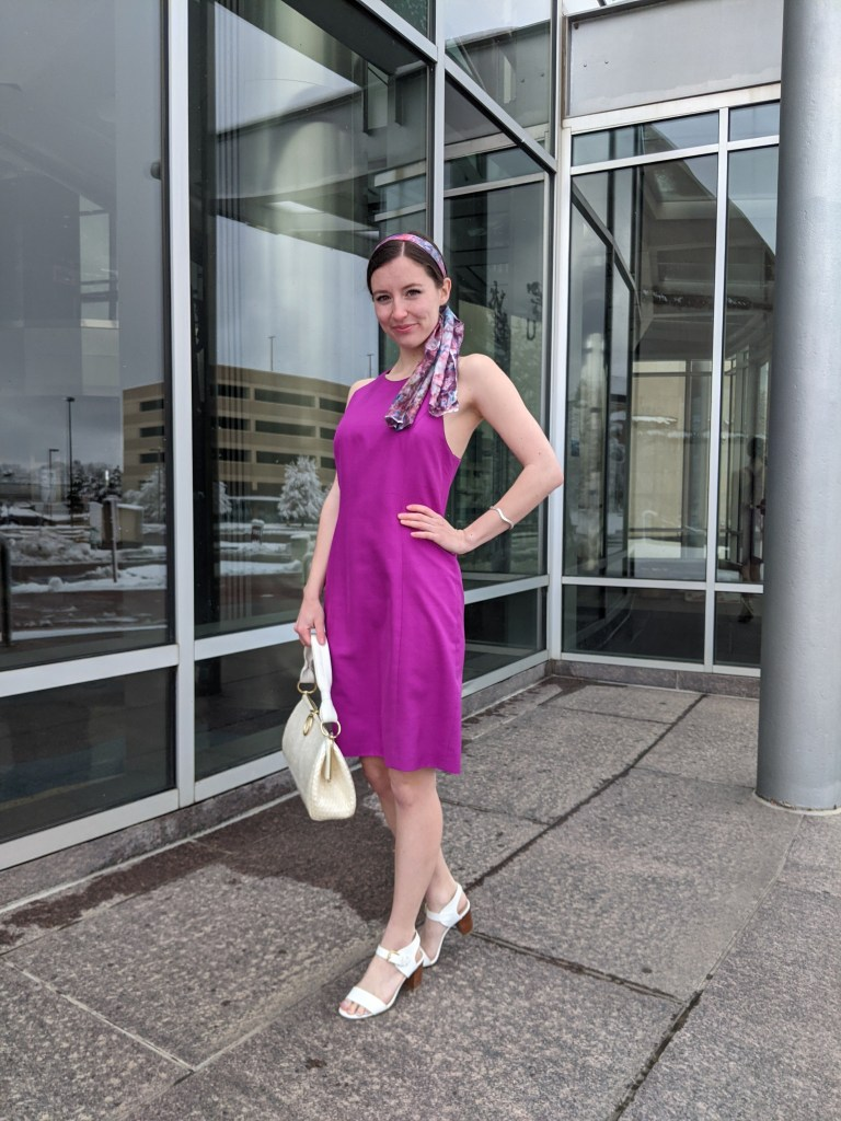 purple-dress-pink-bold-color-white-shoes-white-purse
