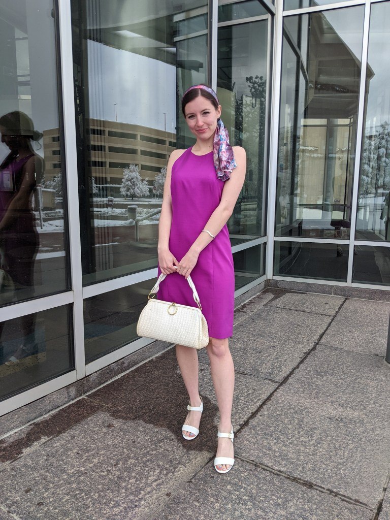 thrifted-magenta-dress-hair-scarf-white-handbag-vintage