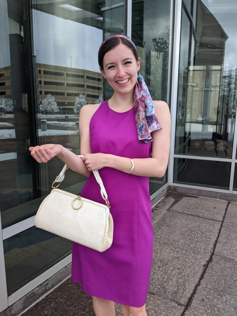 magenta-dress-hair-scarf-white-purse-vintage-style