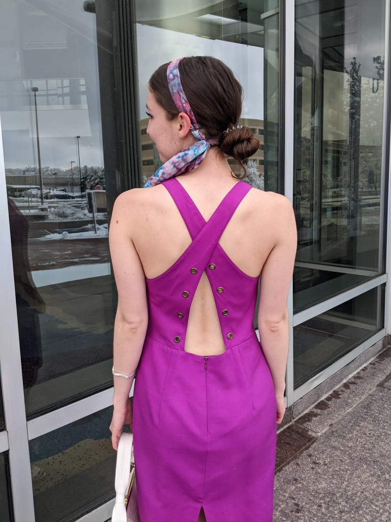 open-back-dress-magenta-thrifted-vintage-style