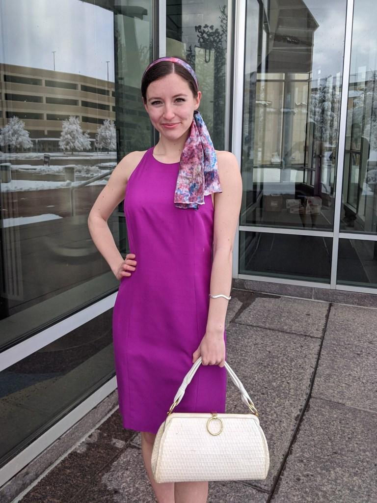 magenta-dress-vintage-style-white-handbag-hair-scarf-thrifted-style