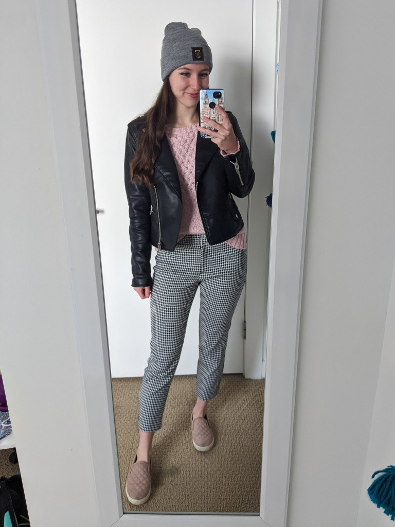 pink-sweater-black-pleather-jacket-houndstooth-pants-pink-sneakers