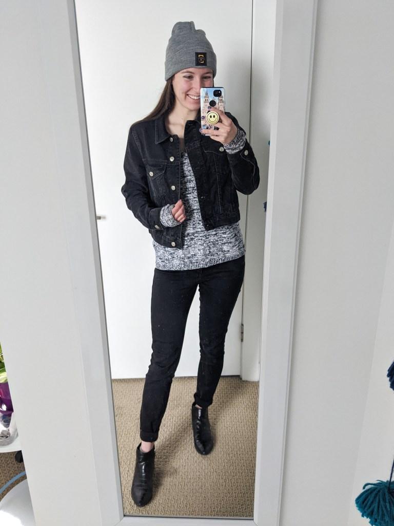black-denim-jacket-navy-white-sweater-grey-beanie-love-your-melon