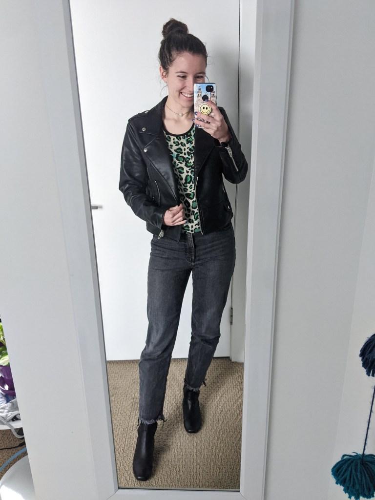 leopard-shirt-black-leather-jacket-grey-mom-jeans-black-boots