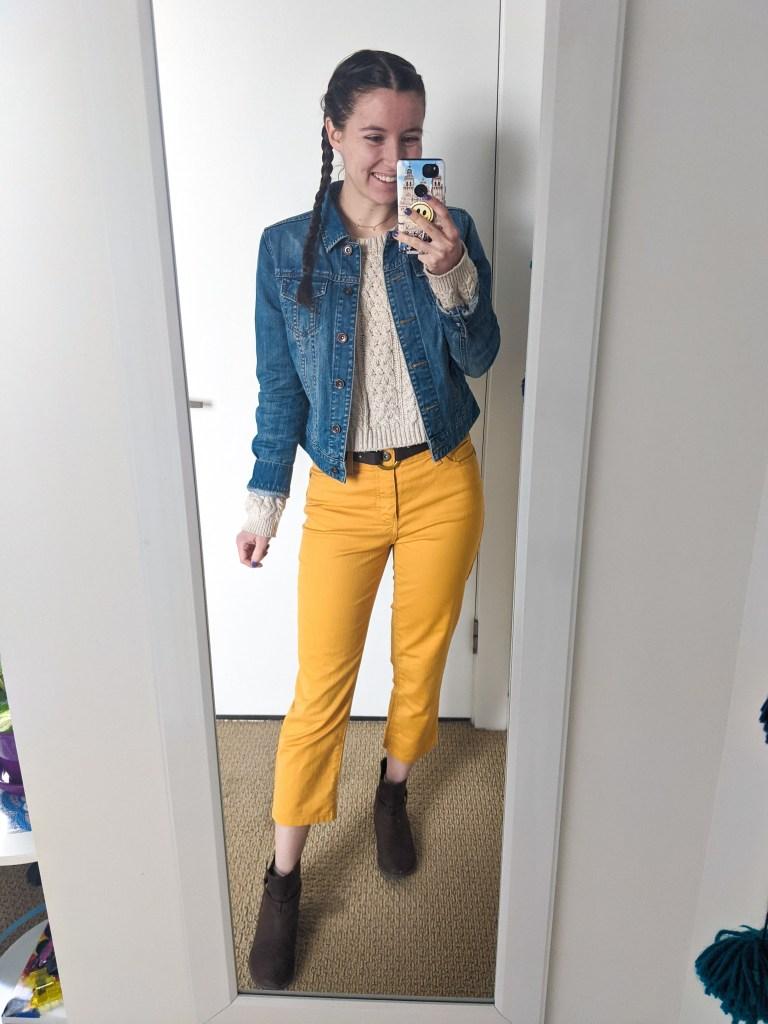 yellow-pants-mustard-beige-sweater-denim-jacket-brown-booties