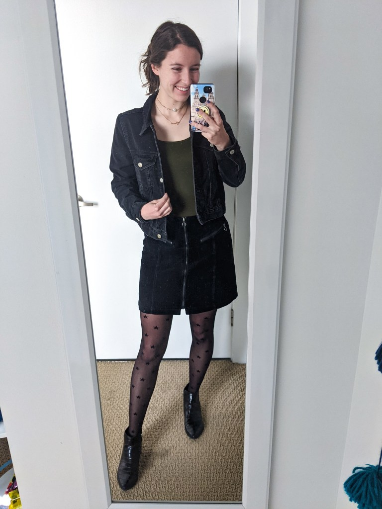 olive-green-bodysuit-black-denim-jacket-corduroy-skirt-star-print-tights