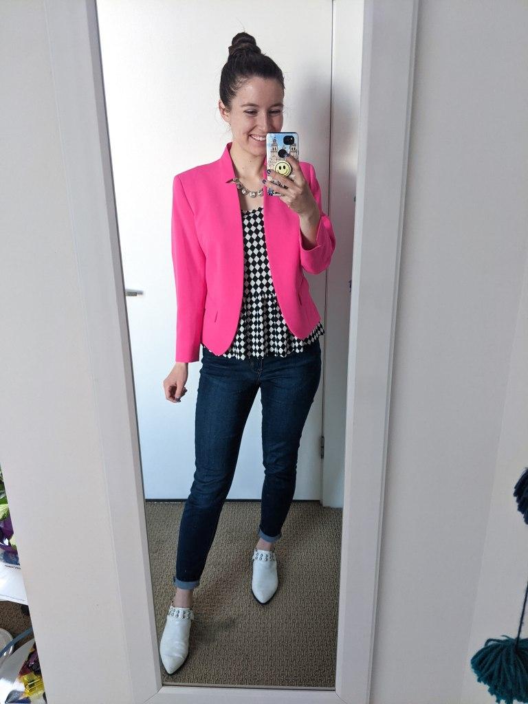 pink-blazer-peplum-top-white-mules-skinny-jeans