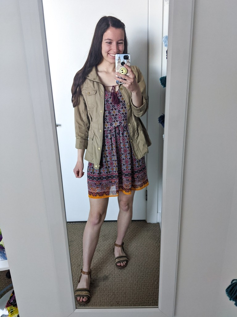 maroon-dress-boho-utility-jacket-brown-sandals