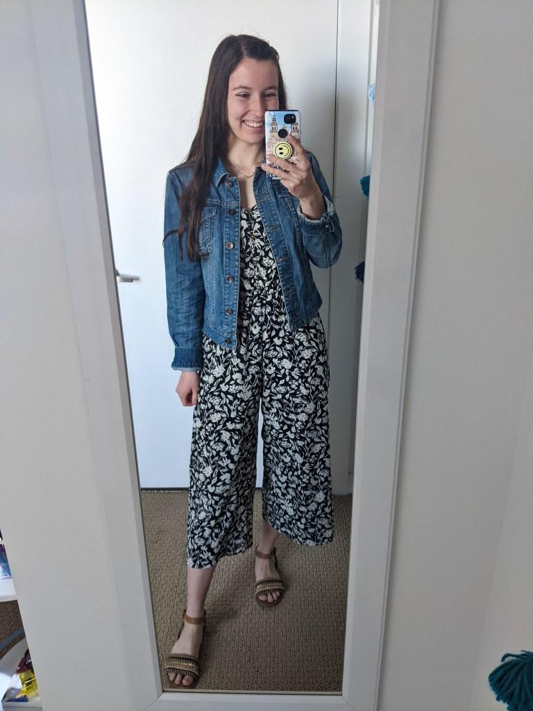 printed-jumpsuit-denim-jacket-brown-sandals