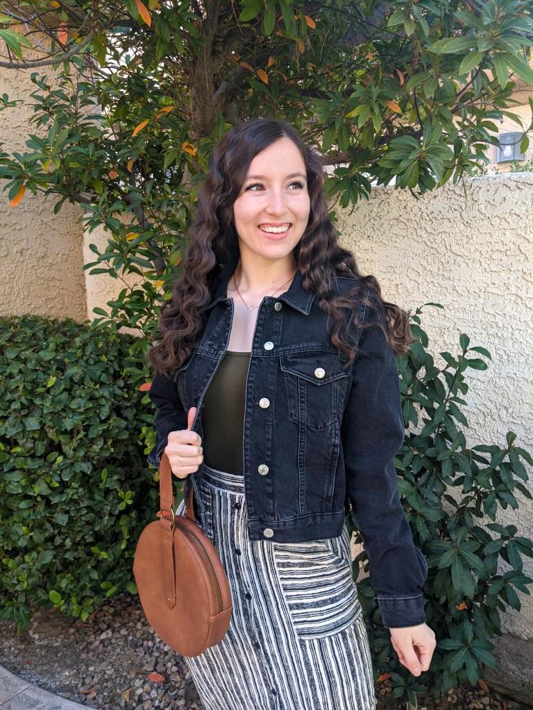 black-denim-jacket-striped-skirt