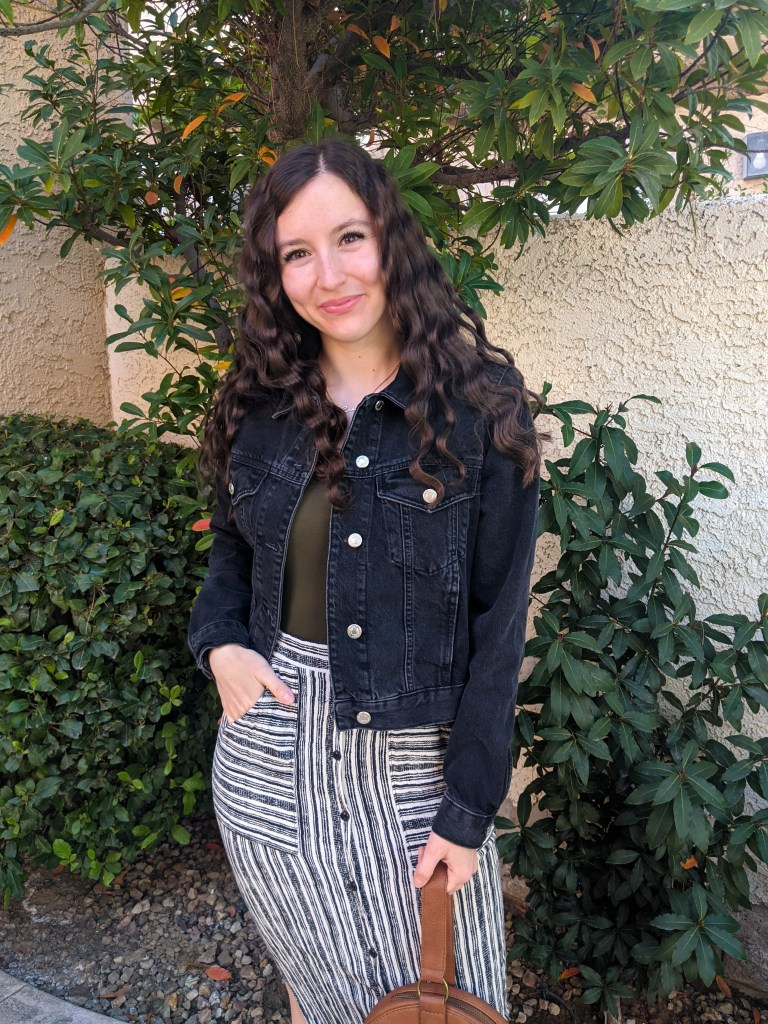 black-denim-jacket-striped-maxi-skirt