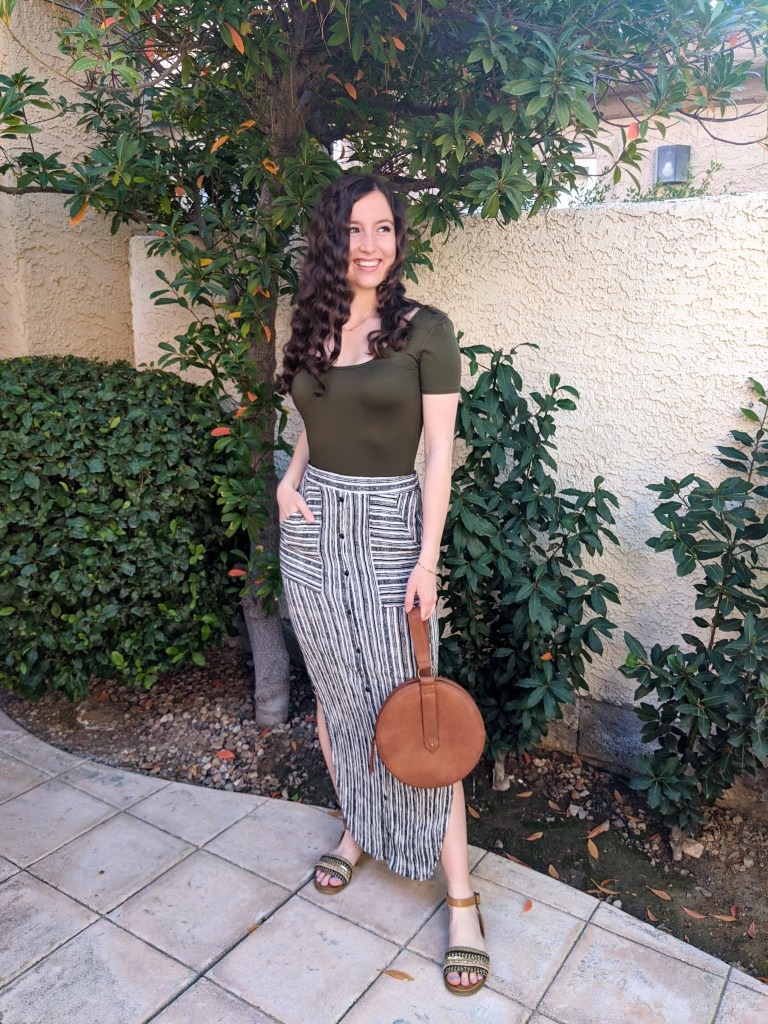 striped-maxi-skirt-brown-circle-purse-olive-tee