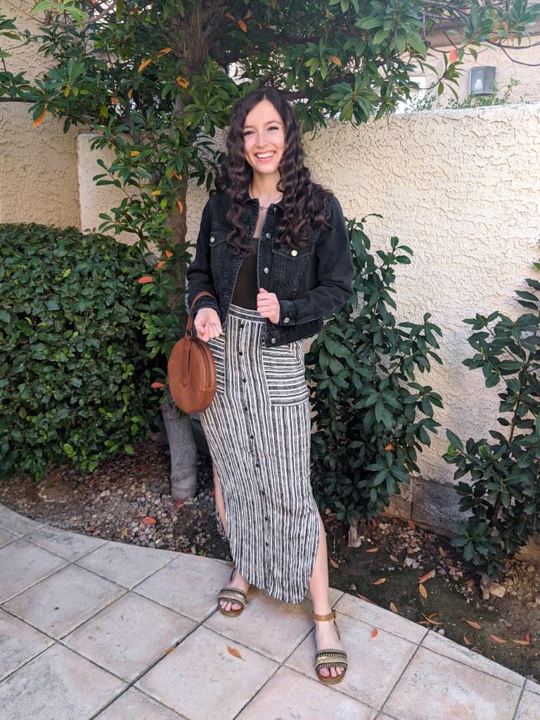 striped-maxi-skirt-black-denim-jacket-brown-circle-purse