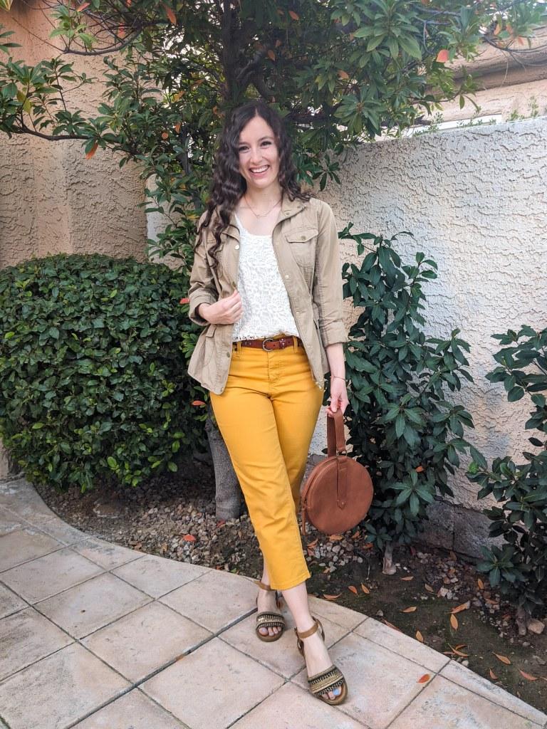 yellow-pants-capris-brown-circle-purse-anorak