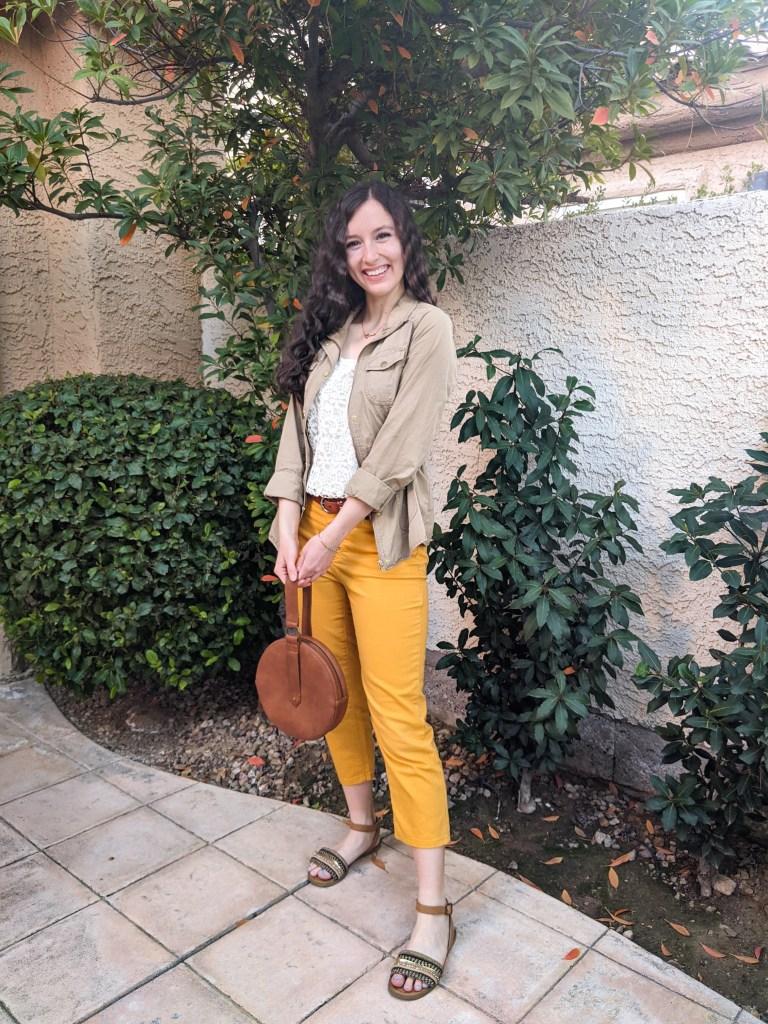 yellow-pants-beige-jacket-white-top-brown-sandals