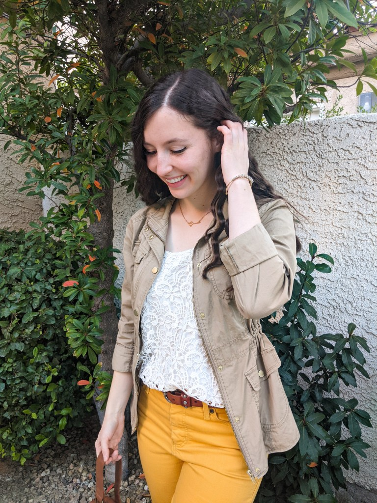 beige-jacket-white-lace-top-yellow-pants