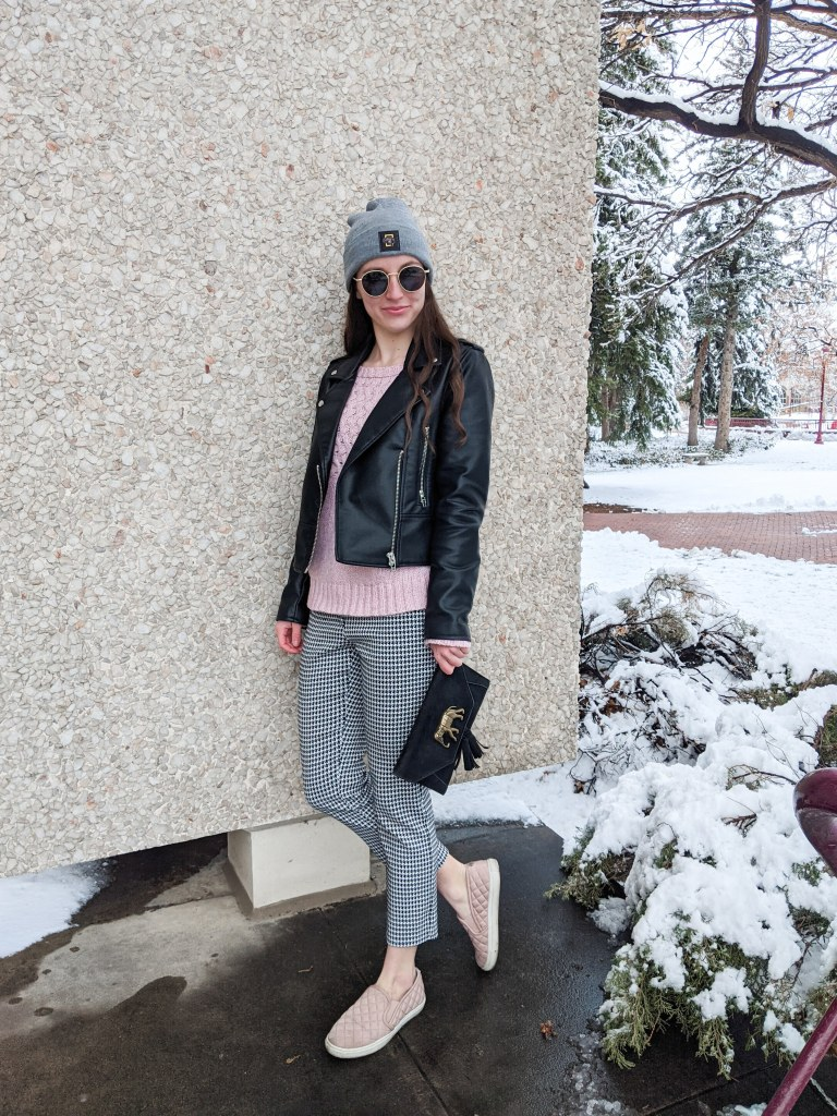 grey-beanie-pink-sweater-houndstooth-pants-leather-jacket