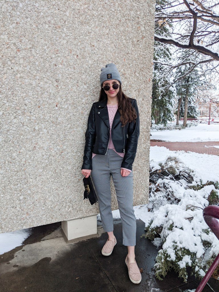 round-sunglasses-leather-jacket-pink-sweater-houndstooth-pants