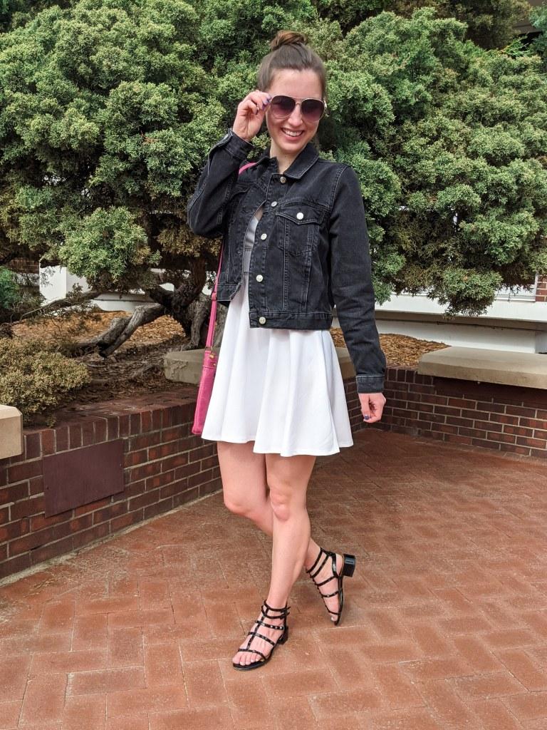 black-sandals-denim-jacket-white-dress