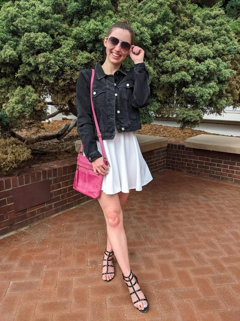 white-dress-black-denim-jacket-black-sandals-pink-purse