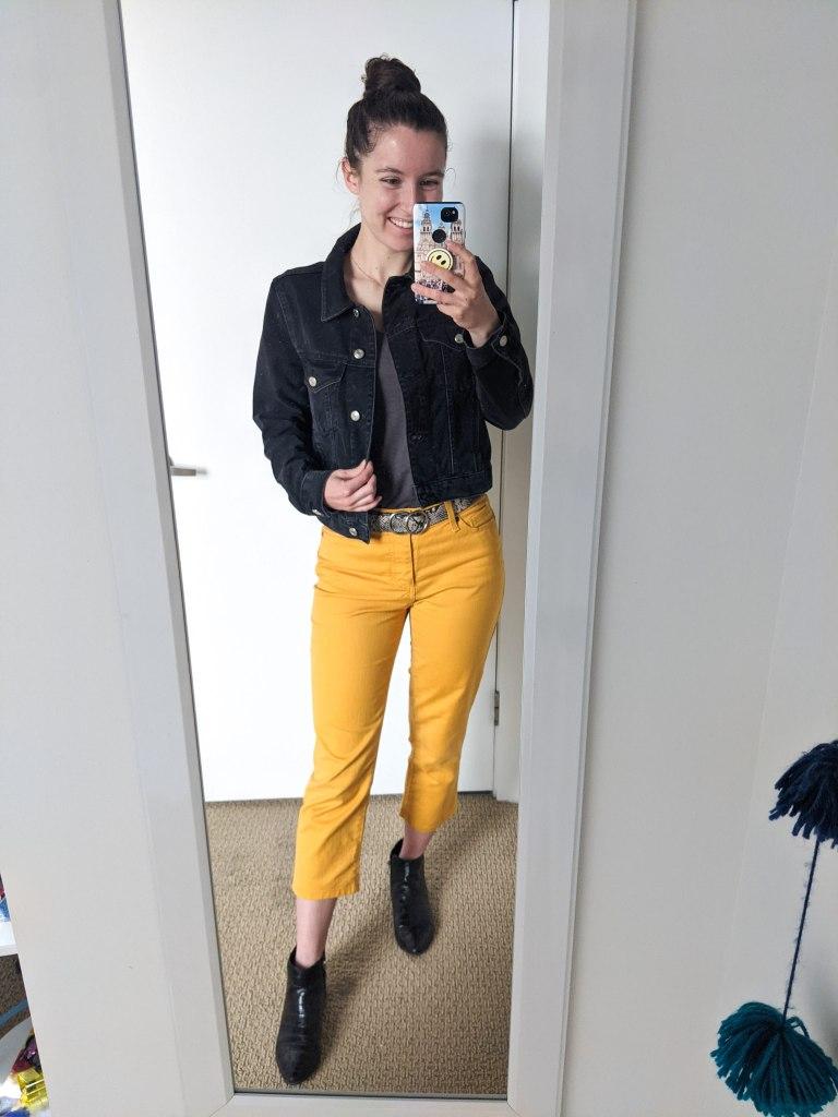 yellow-pants-black-denim-jacket-grey-tee