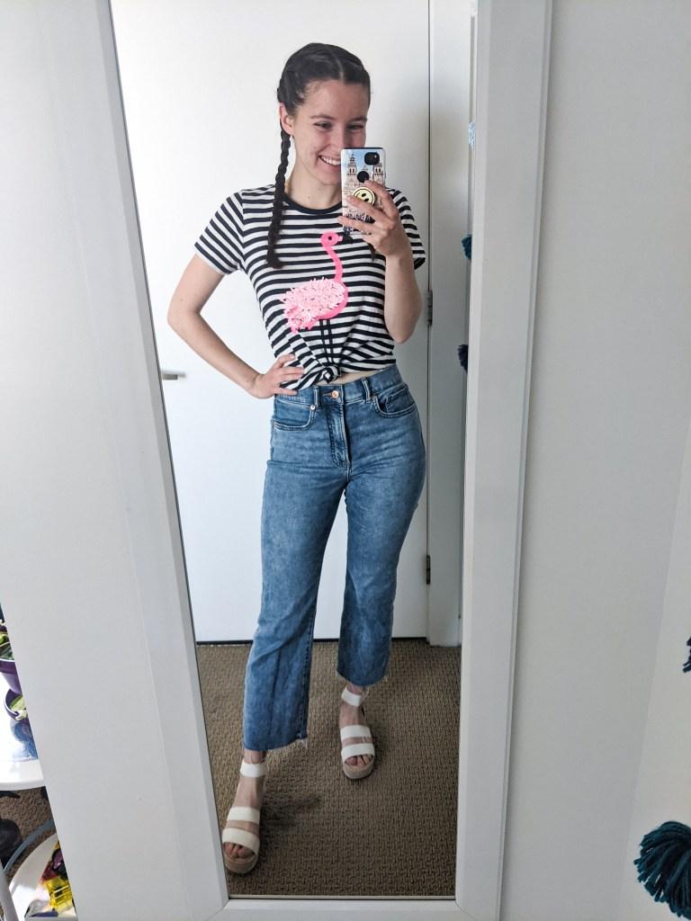 striped-flamingo-tee-cropped-jeans-white-platforms