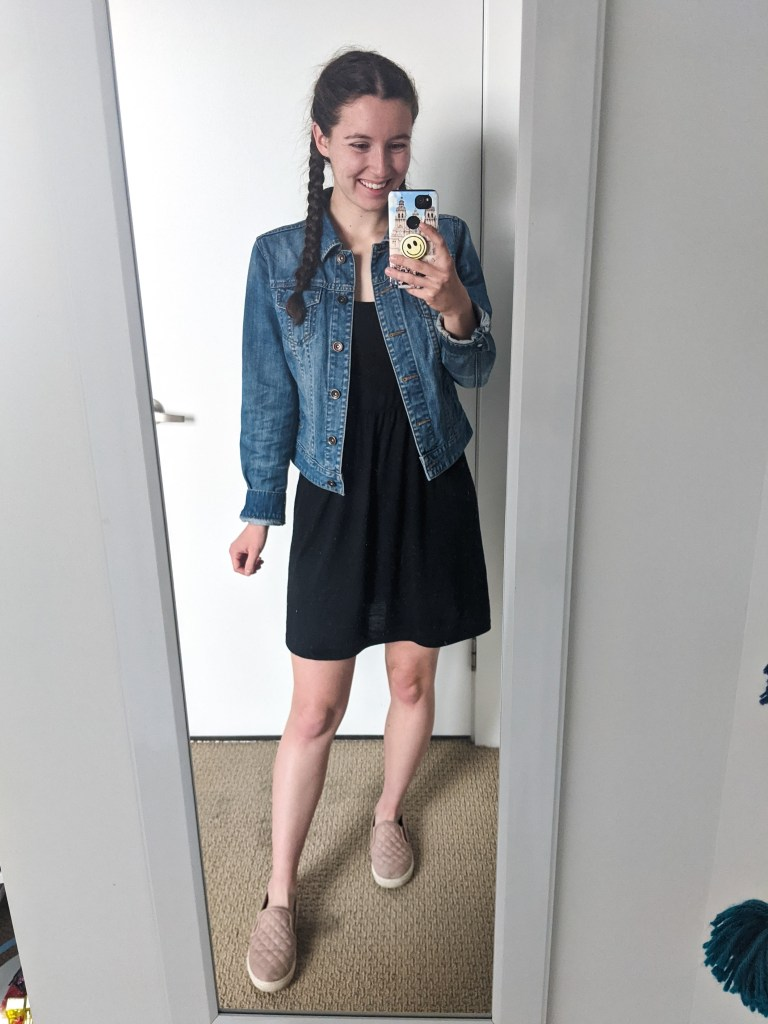 black-tank-dress-denim-jacket-blush-sneakers