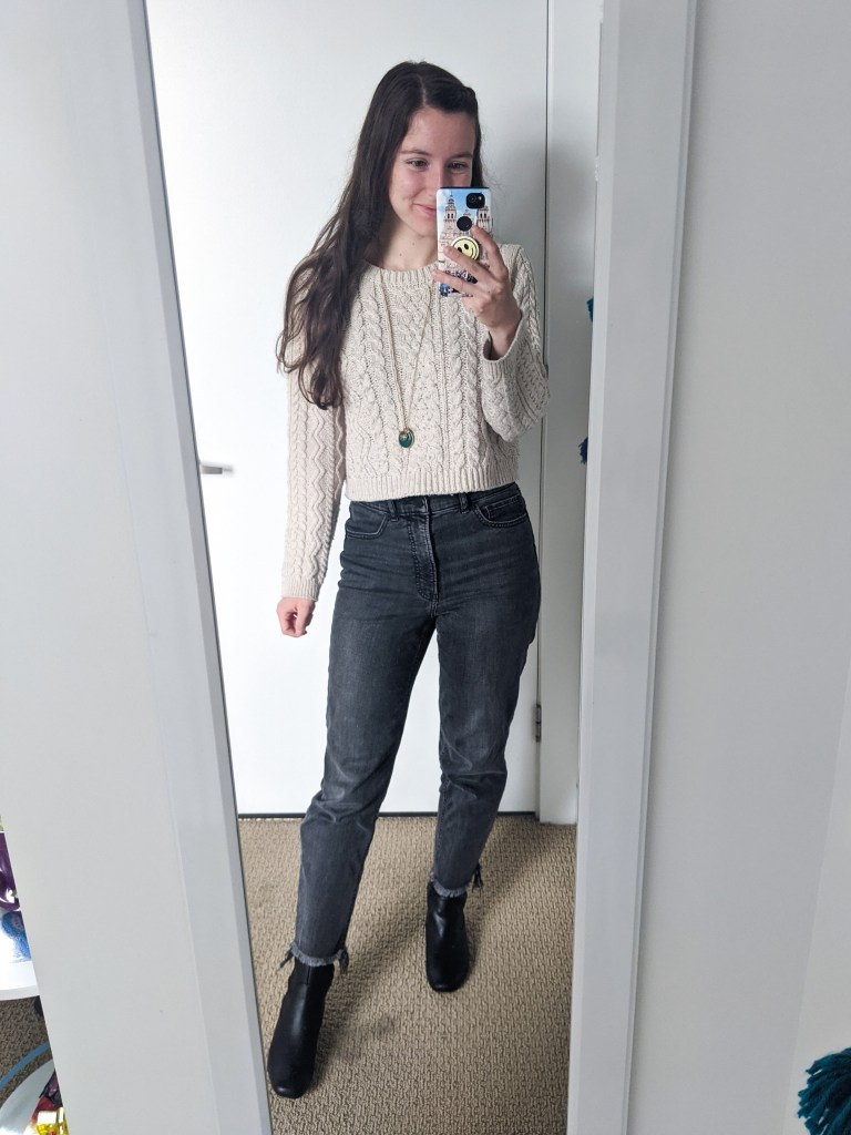 beige-sweater-grey-mom-jeans-express-black-boots