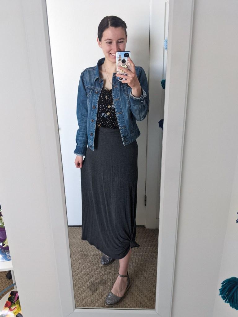 floral-tank-top-cabi-clothing-denim-jacket-grey-maxi-skirt