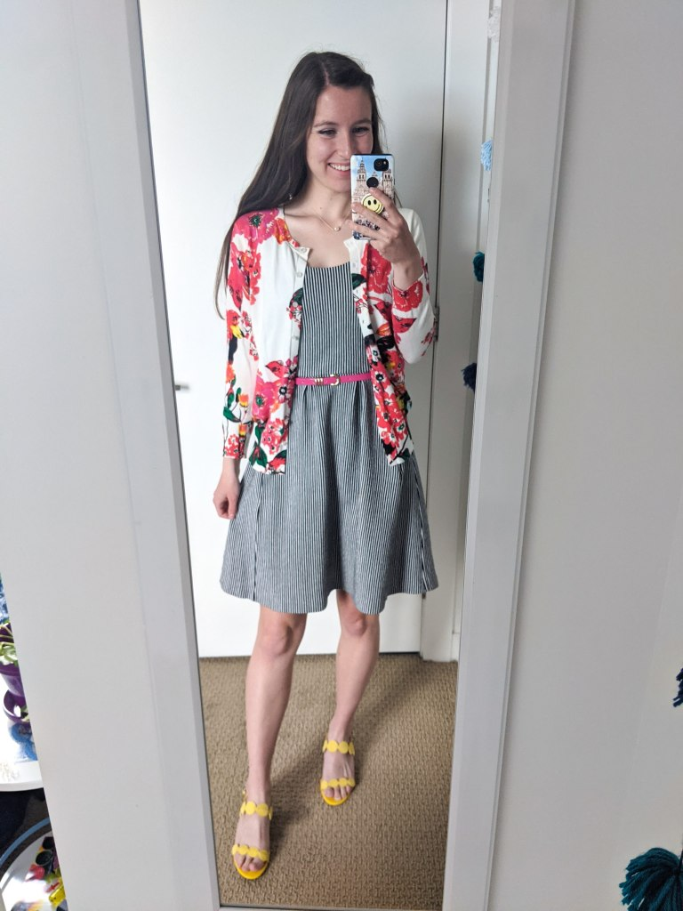 floral-cardigan-pinstripe-dress-pink-belt-yellow-sandals