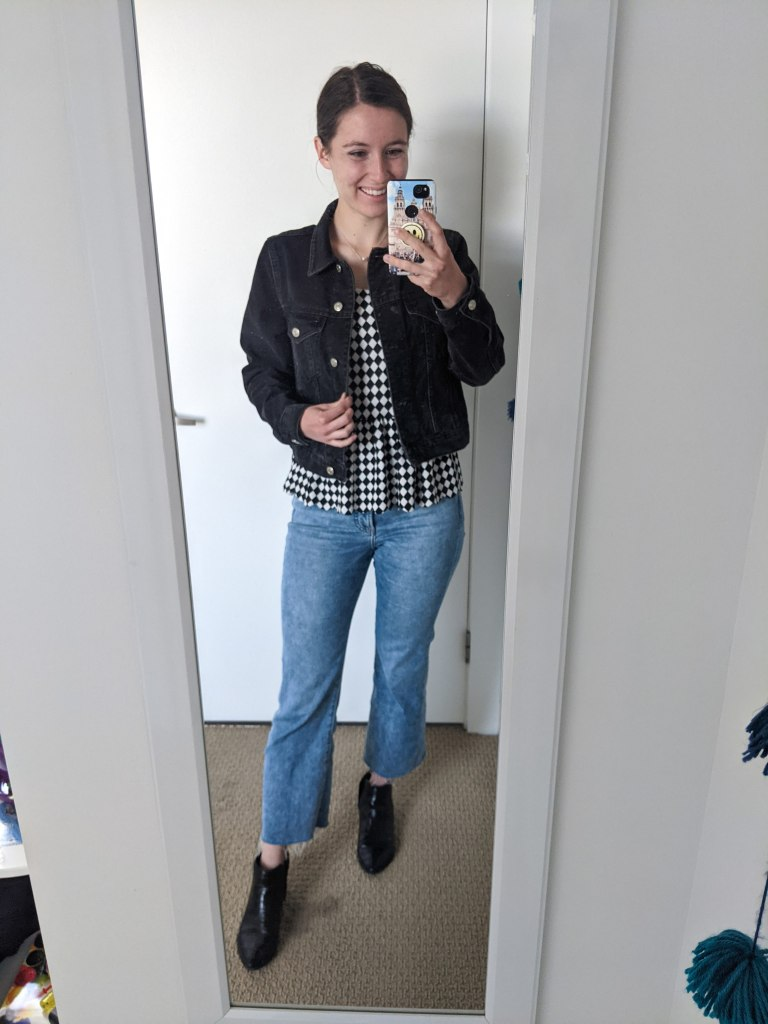 checkered-peplum-top-cropped-flared-jeans-black-booties
