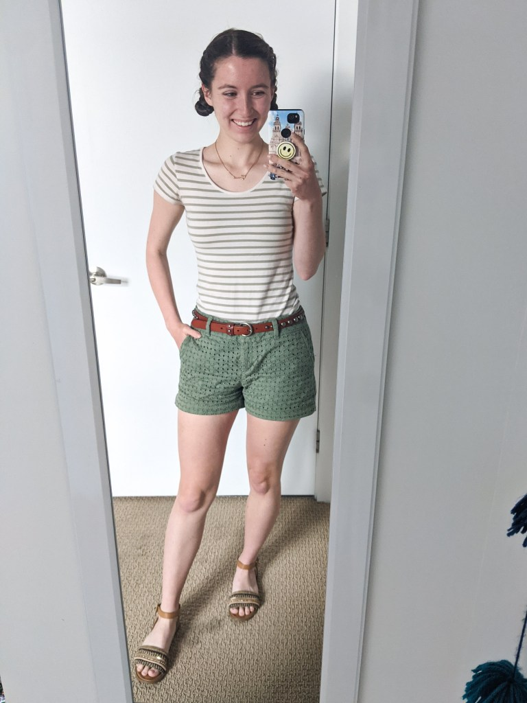 olive-green-striped-tee-eyelet-shorts-brown-sandals
