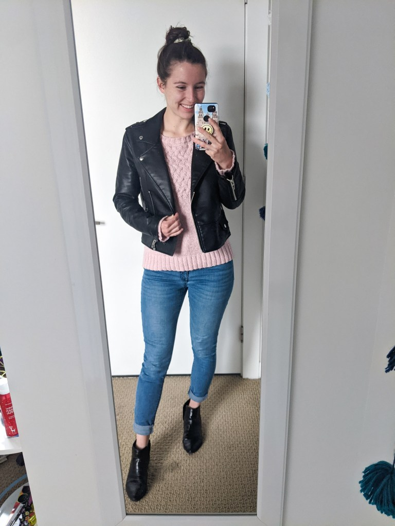 pink-sweater-leather-jacket-skinny-jeans
