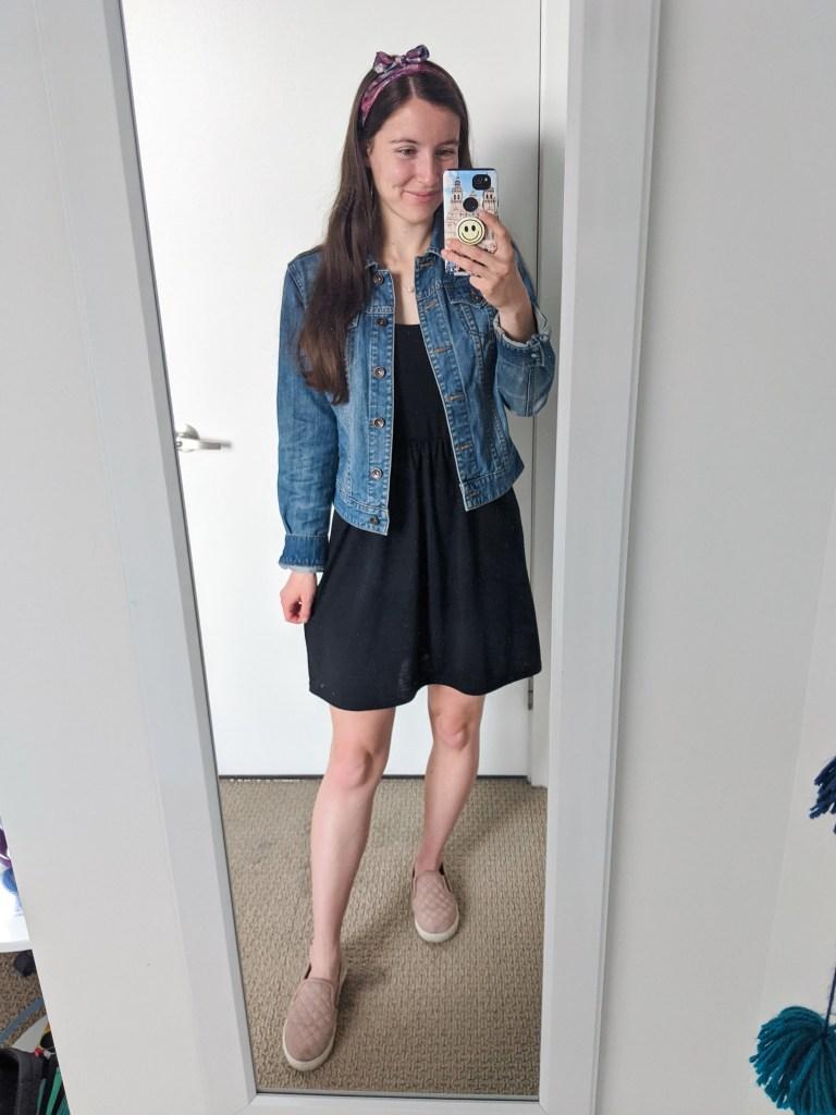 black-dress-jean-jacket-hair-scarf-blush-sneakers
