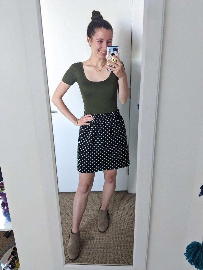 olive-green-bodysuit-polka-dot-skirt-taupe-booties