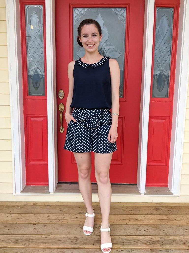 navy-polka-dot-romper-two-piece-set-white-heels