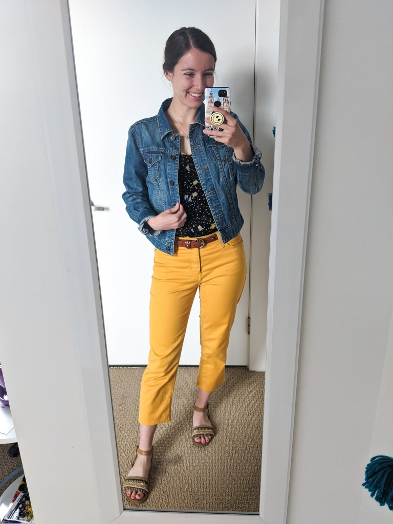 yellow-pants-colored-jeans-cabi-brown-sandals