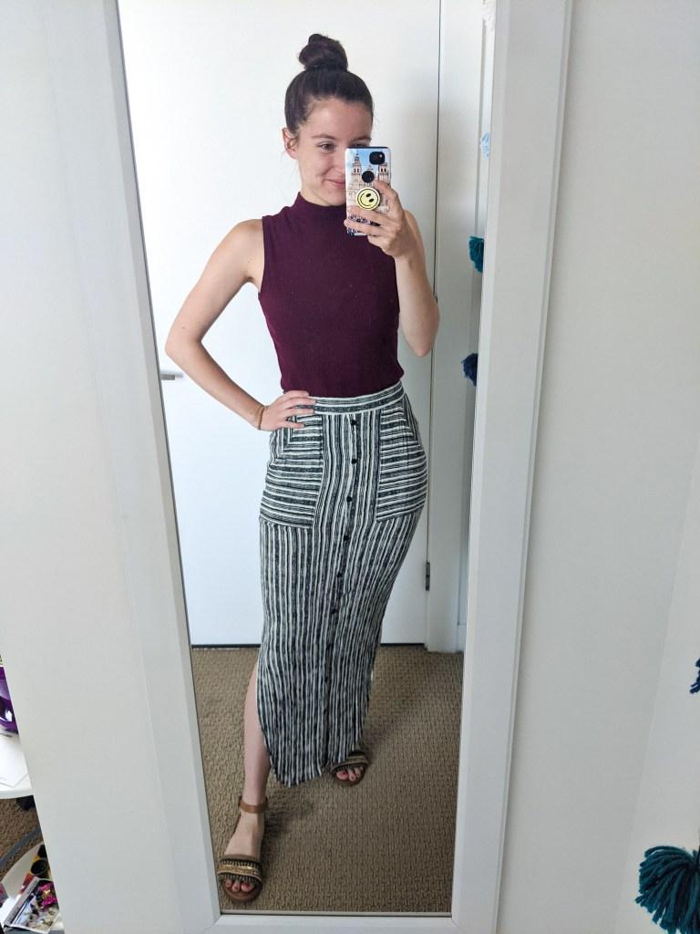 striped-maxi-skirt-mock-neck-top-boho-style